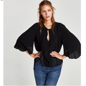 Zara Black Cape Blouse with Fringe, L, NWT